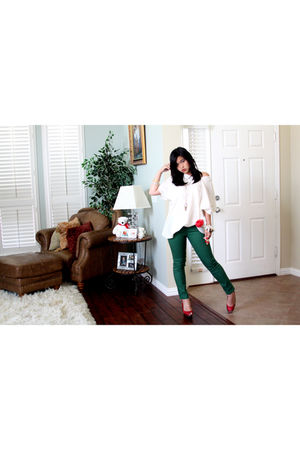 white sears top - green giordano pants - red joey shoes - red Claires accessorie