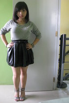 silver bench sweater - black Tomato belt - black pleather Forever21 skirt