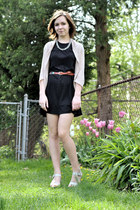 black volcom dress - silver thrifted necklace - tan Sisters cardigan - brown thr