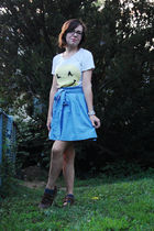 white Wildfox t-shirt - blue Urban Outfitters skirt - silver antique bracelet -
