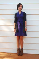 brown boots - purple dress - silver necklace - silver bracelet - gray cardigan