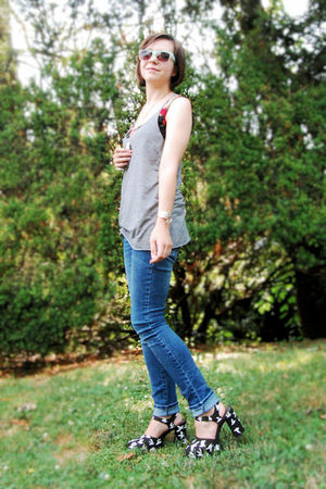 DIY shoes - black worn as tank Forever 21 dress - blue Delias jeans