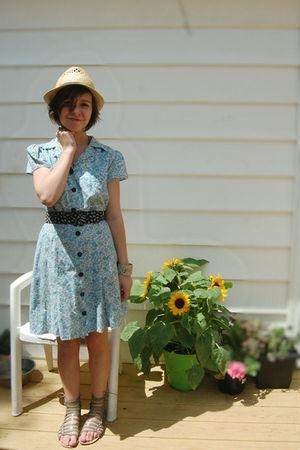 beige H81 hat - blue vintage dress - silver Amrita Signh bracelet - black vintag
