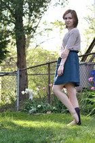 silver thrifted necklace - tan madewell top - blue Urban Outfitters skirt - silv