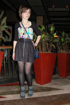 black H&M dress - green flea market dress - black American Eagle tights - gray T