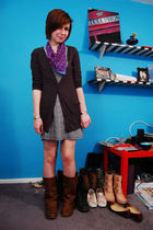 gray BDG cardigan - blue H&M scarf - blue Billabong dress - silver various brace