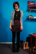 gray Guacamole cardigan - black FCUK top - gray H&M skirt - black Forever 21 leg