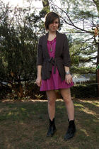 gray H&M cardigan - purple Billabong dress - silver flea market bracelet - silve