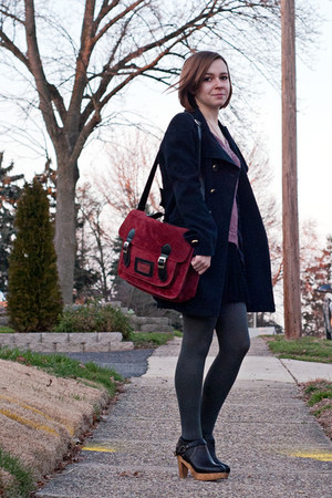black Rachel Comey boots - navy Forever 21 coat - red American Rag sweater