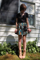 black PacSun t-shirt - blue Element skirt - silver DIY necklace - silver various
