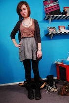 gray BDG cardigan - brown asos top - gray Target skirt - black Forever 21 leggin