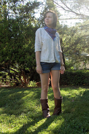 white my mom cardigan - blue H&M scarf - blue PacSun shorts - brown Blowfish boo