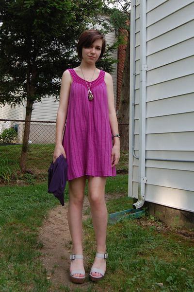 blue Lux cardigan - purple Billabong dress - silver DIY necklace - silver antiqu