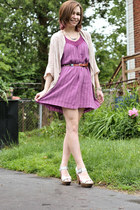magenta Billabong dress - beige Sisters cardigan - silver antique necklace - sil