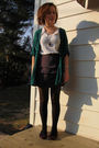 Green-silence-and-noise-cardigan-white-american-apparel-t-shirt-gray-h-m-ski
