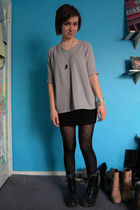 gray thrifted sweater - black H&M skirt - black American Eagle tights - gray Tar