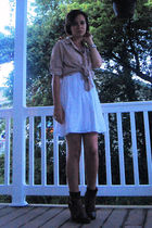 beige Olive and Olivia shirt - silver antique bracelet - white Target dress - bl