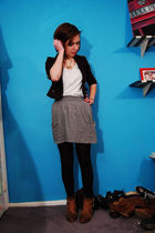 black H&M blazer - white ae t-shirt - gray Target skirt - black whole foods tigh