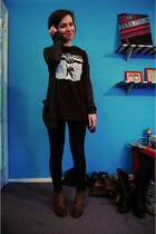 gray BDG cardigan - black Operation Ivy t-shirt - black Forever 21 leggings - br