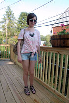 white H&M t-shirt - blue H&M sunglasses - silver DIYgrandmas accessories - beige