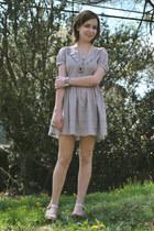 periwinkle asos dress - silver gift bracelet - silver antique necklace - gray Al