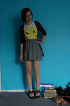 sweater - t-shirt - skirt - shoes - accessories