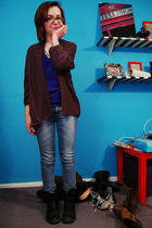 gray H&M cardigan - blue American Apparel t-shirt - blue H&M jeans - black Doc M