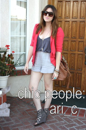 red blazer - gray shoes - brown