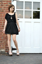gray Aldo shoes - black free people dress - silver made by me necklace - silver