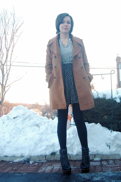 brown modcloth coat - charcoal gray H&M cardigan - off white vintage dress - sil
