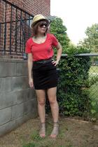 Heritage hat - forever 21 t-shirt - flea market belt - H&M skirt - Dolce Vita sh
