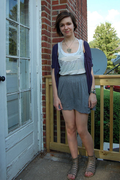 blue Lux cardigan - white Fox t-shirt - gray Target skirt - silver my momantique
