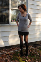 hollister sweater - H&M skirt - American Eagle stockings - Target shoes - momgra