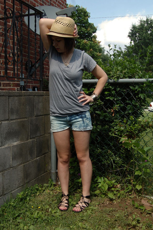 Heritage hat - forever 21 t-shirt - DIY shorts - Target shoes - thrifted bracele