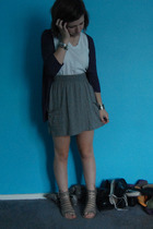 Lux sweater - American Apparel t-shirt - Target skirt - Dolce Vita shoes - vario