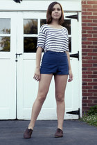 brown Topshop shoes - navy American Apparel shorts - white Monki top