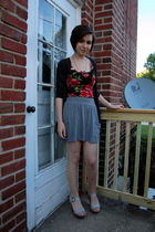 gray BDG cardigan - black Forever 21 dress - gray Target skirt - silver antique