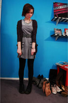 gray BDG cardigan - blue Billabong dress - black vintage belt - Forever 21 leggi