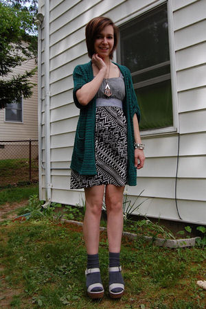 green silence and noise cardigan - gray modcloth dress - silver DIY necklace - s