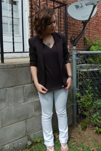 my brothers blazer - PacSun t-shirt - Delias jeans - kohls shoes - My moms neckl