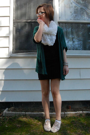 green silence and noise cardigan - black H&M dress - white H&M scarf - beige Ked