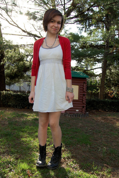 red H&M cardigan - silver thrift necklace - white Target dress - silver Amrita S