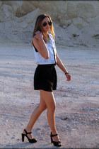 TK Maxx sandals - denim Secondhand  DIY vest - H&M bodysuit - Lilou bracelet