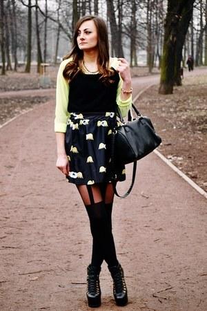 lime green Romwecom skirt - black Jeffrey Campbell boots - black Gatta tights