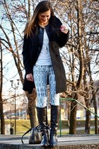 black no name boots - black Zara coat - black Stradivarius jacket