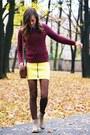 Maroon-h-m-jumper-camel-zara-boots-yellow-h-m-skirt-black-lilou-bracelet