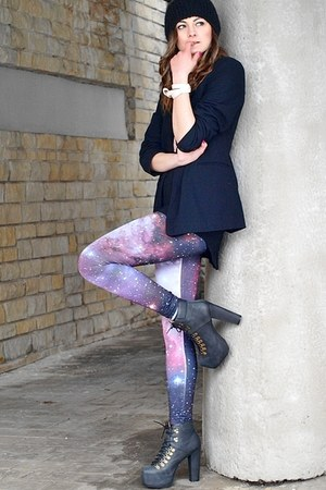 black Jeffrey Campbell boots - black H&amp;M hat - bubble gum Romwecom leggings