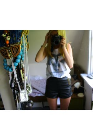 black Topshop shorts - white Topshop top