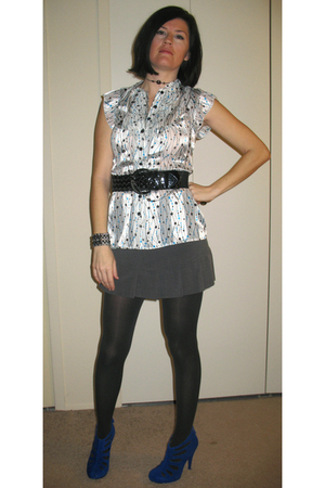 white Maurices blouse - black Wet Seal belt - gray Exress skirt - gray Anne Klei
