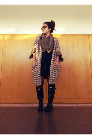 dark brown Zara coat - black Hunter boots - black H&M dress - black H&M belt